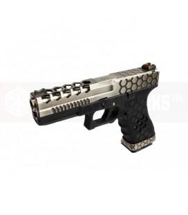 AW VX0100 Hex Cut Signature Model 17 GBB Airsoft Pistol ( SV/BK )